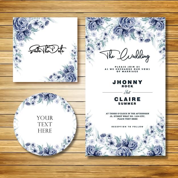 Niebieska akwarela klasyczna karta zaproszenie na ślub Premium Wektorów