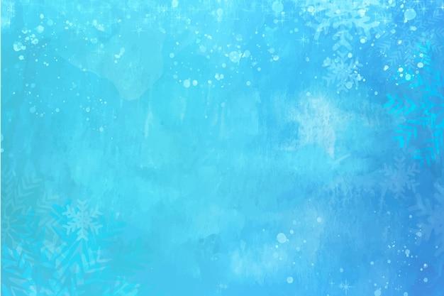 Niebieska Akwarela Zimowa Tapeta Premium Wektorów