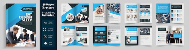 Niebieska Broszura Korporacyjna Z 16-stronnym Układem Z Niebieskim Gradientem Premium Wektorów