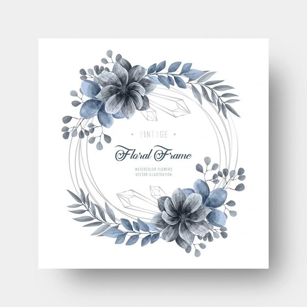 Niebieska Dekoracja Kwiatowa Akwarela W Srebrnej Ramce Premium Wektorów