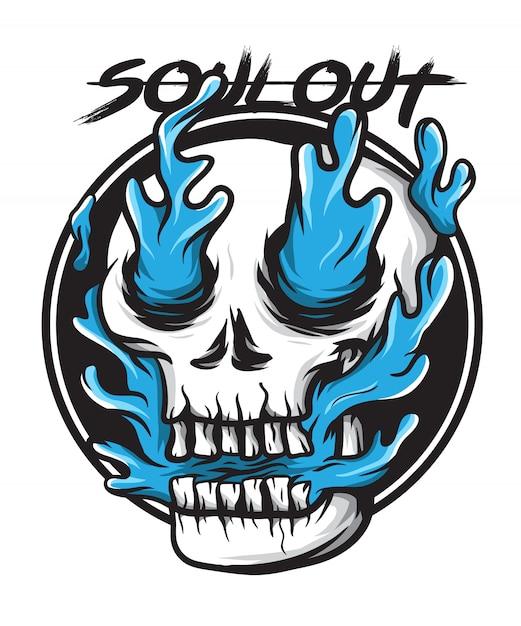 Niebieska dusza czaszki ognia Premium Wektorów