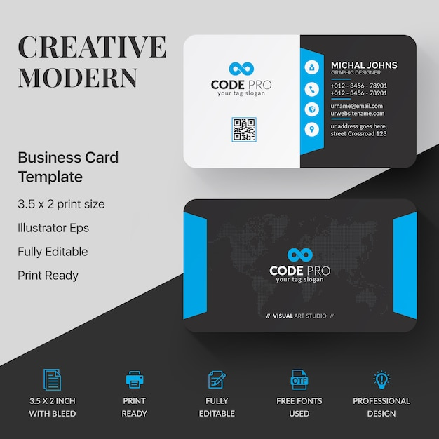 Niebieska elegancka karta firmowa Premium Wektorów