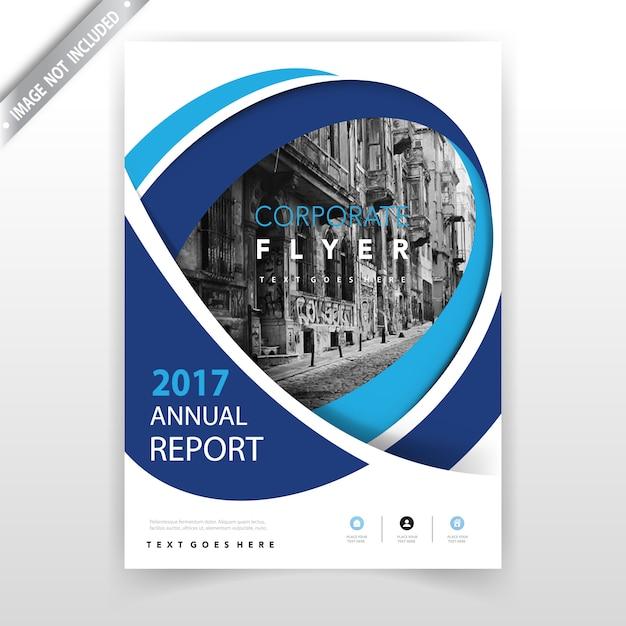niebieska falista roczna broszura informacyjna Darmowych Wektorów