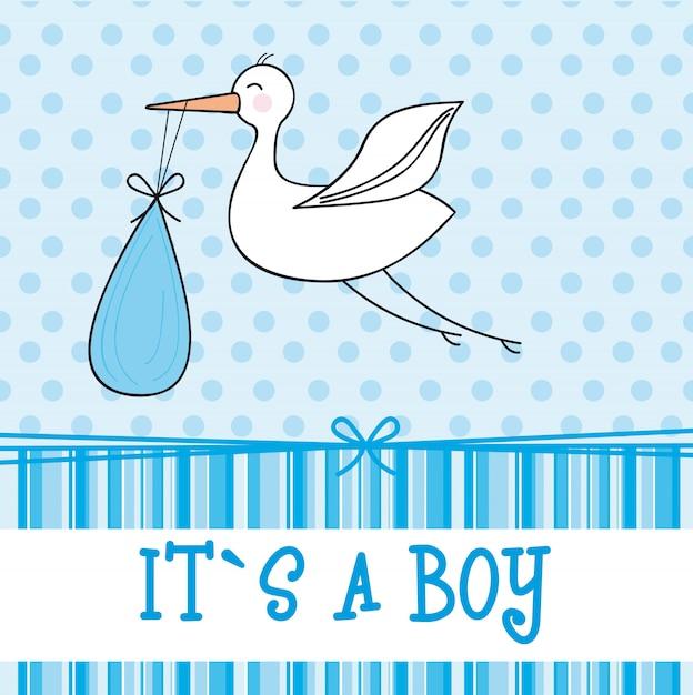 Niebieska karta baby shower z ilustracji wektorowych bocian chłopiec Premium Wektorów