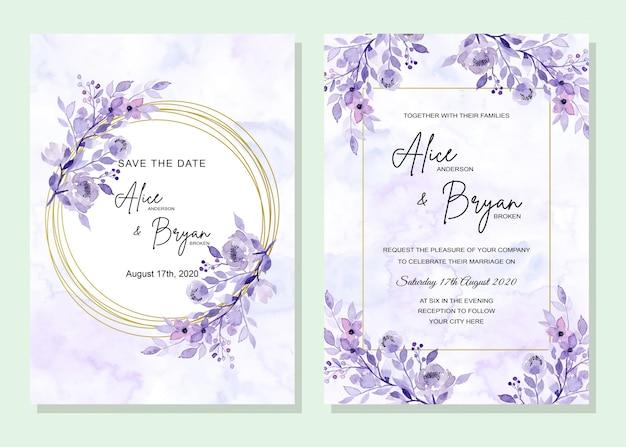 Niebieska karta ślub z kwiatami Premium Wektorów