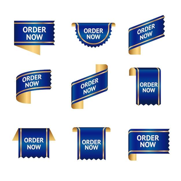 Niebieska Kolekcja Zamówienia Teraz Etykieta Premium Wektorów