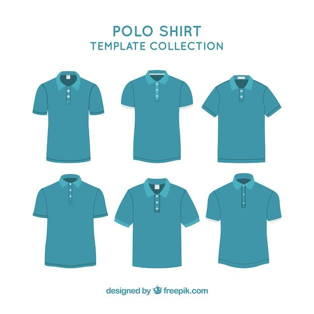 Niebieska Koszulka Polo Szablon Kolekcji Darmowych Wektorów