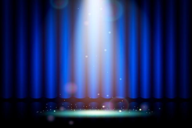 Niebieska Kurtyna Na Scenie W Teatrze, Realistyczna Dekoracja Wnętrz Aksamitna Zasłony Premium Wektorów