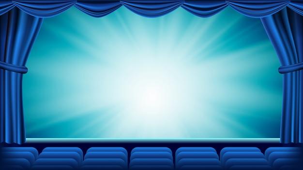 Niebieska Kurtyna Teatralna Premium Wektorów