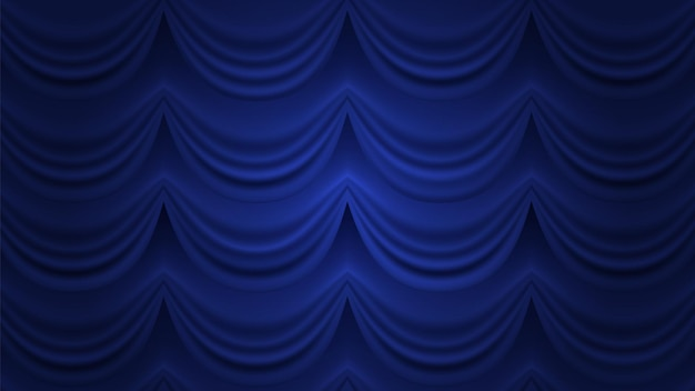 Niebieska Kurtyna. Zamknięta Zasłona W Tle. Niebieska Draperia Na Scenie Teatru Cyrkowego. Premium Wektorów