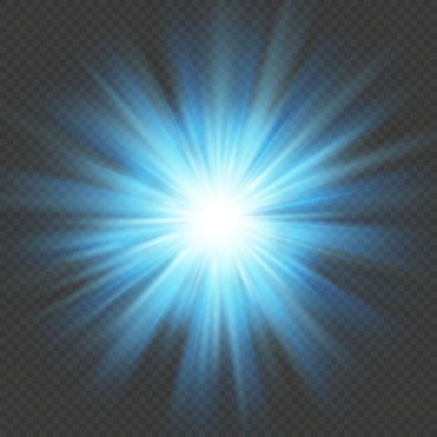 Niebieska Poświata Wybuch Gwiazdy Rozbłysk Flary Efekt świetlny. Na Przezroczystym Tle. Premium Wektorów
