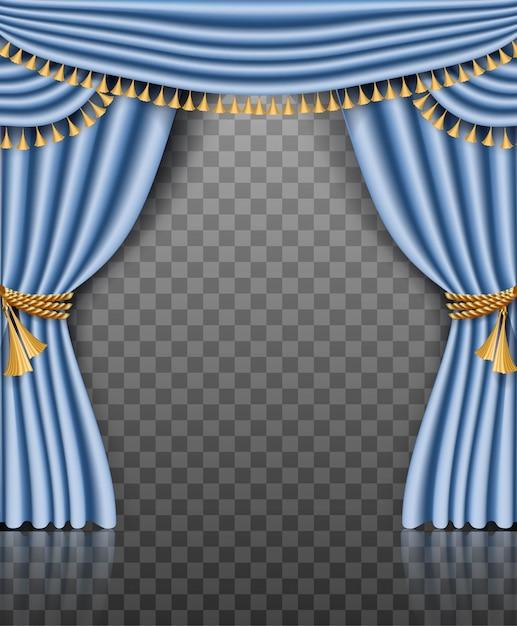 Niebieska Rama Kurtyny Ze Złotymi Dekoracjami Na Przezroczystym Premium Wektorów