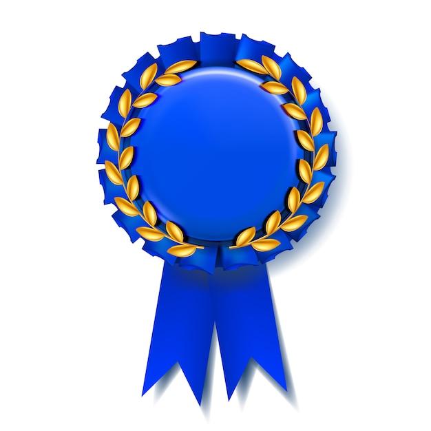 Niebieska wstążka award Premium Wektorów