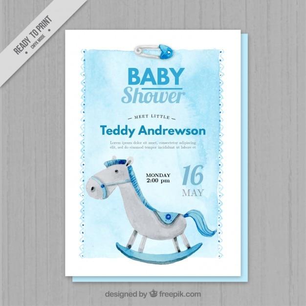 Niebieski Akwarela Baby Shower Zaproszenia Darmowych Wektorów