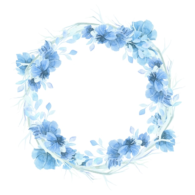 Niebieski akwarelowy kwiatowy wieniec tła Darmowych Wektorów