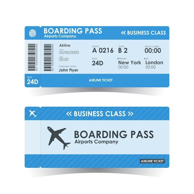 Niebieski Bilet Na Kartę Pokładową. Premium Wektorów