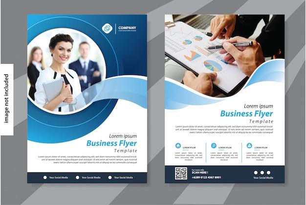 Niebieski Biznes Szablon Ulotki Korporacyjnej Broszury Okładkowej Premium Wektorów