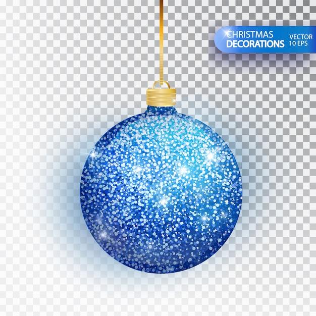 Niebieski brokat christmas cacko na białym tle. bal musujący brokat, świąteczna dekoracja. Premium Wektorów
