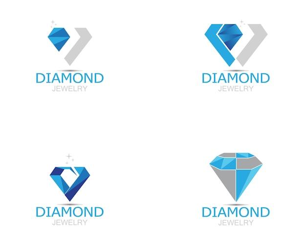 Niebieski diament biżuteria logo wektor Premium Wektorów