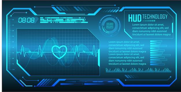 Niebieski Ekg Monitor Pulsu Z Sygnałem. Bicie Serca Cyber Obwodu Przyszłości Technologii Pojęcia Tło Premium Wektorów
