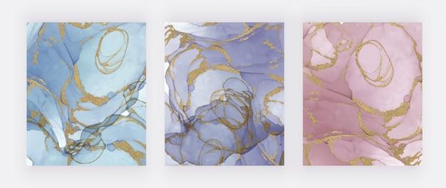 Niebieski, Fioletowy I Różowy Tusz Abstrakcyjny O Fakturze Złotego Brokatu. Streszczenie Ręcznie Malowane Tła Akwarela. Premium Wektorów