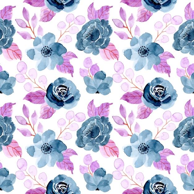Niebieski fioletowy wzór z akwarela kwiatowy Premium Wektorów