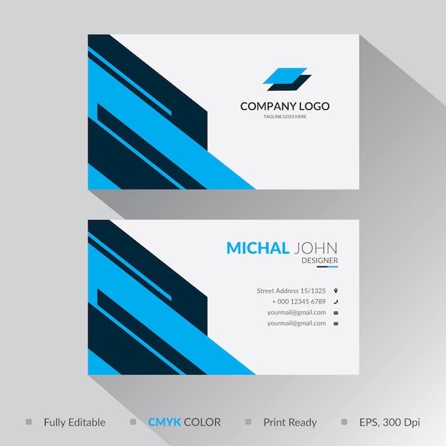 Niebieski geometryczny kształt wizytówki szablon projektu Premium Wektorów