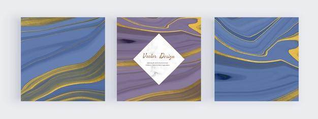 Niebieski I Fioletowy Płynny Atrament Z Banerami Ze Złotym Brokatem I Marmurowymi Ramkami Premium Wektorów