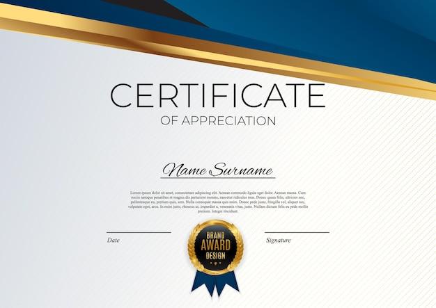 Niebieski I Złoty Certyfikat Osiągnięcia Szablonu Zestaw Tło Z Złotą Odznaką I Obramowaniem. Premium Wektorów