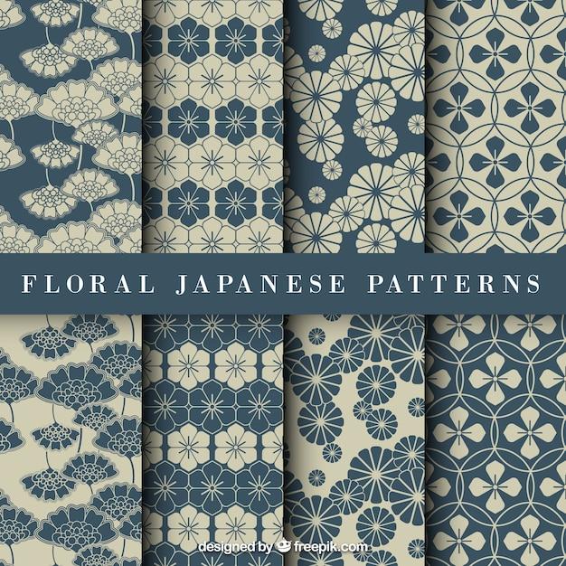 Niebieski kwiatowy wzór japoński Darmowych Wektorów