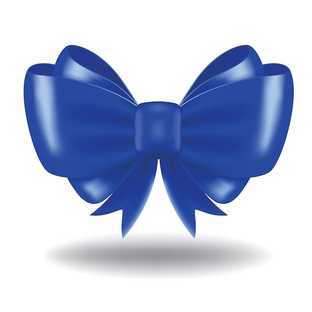 Niebieski łuk Prezent I Wstążka. Obraz Zawiera Siatkę Gradientu Premium Wektorów