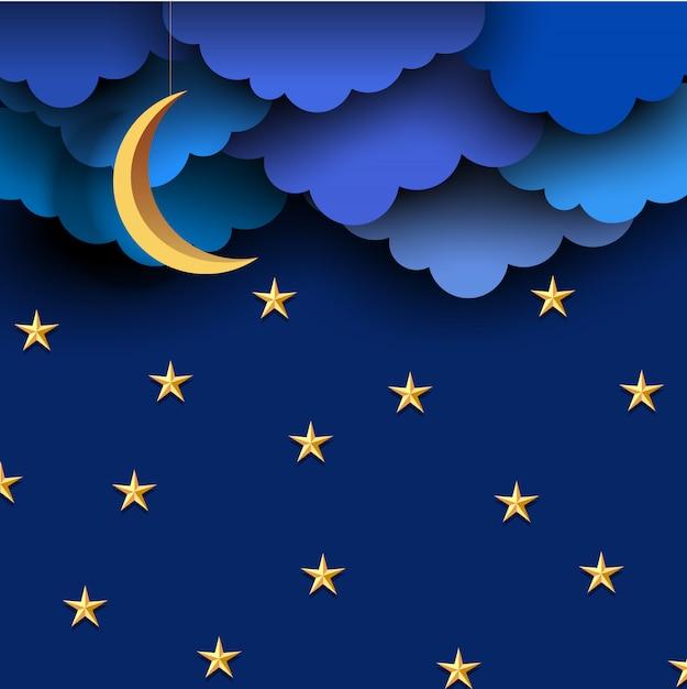 Niebieski papier chmurnieje na nocnym niebie z papierowym księżycem i gwiazdami Premium Wektorów