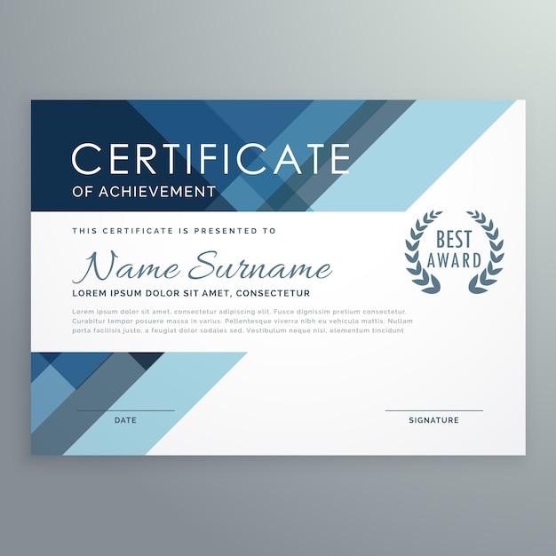 Niebieski projekt certyfikatu w profesjonalnym stylu Darmowych Wektorów