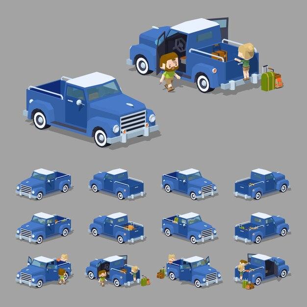 Niebieski Retro Izometryczny Pickup 3d Lowpoly Premium Wektorów