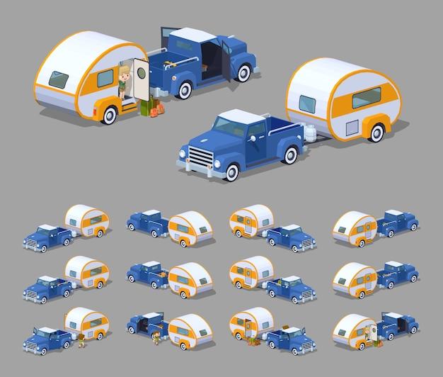 Niebieski Retro Pickup Z Pomarańczowo-białym Kamperem Rv. Premium Wektorów