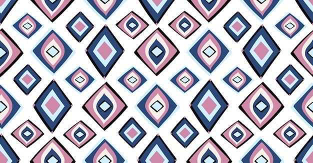 Niebieski różowy czarny geometryczny wzór w stylu afrykańskim Premium Wektorów