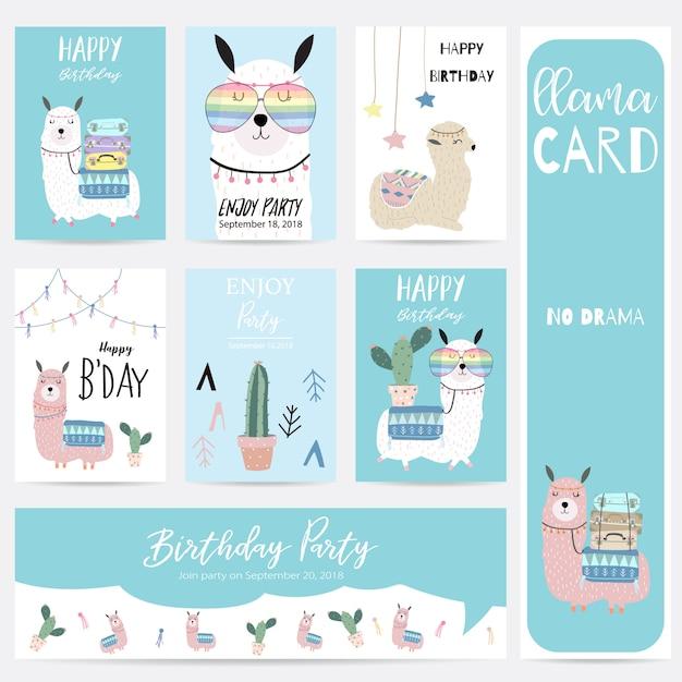 Niebieski różowy ręcznie rysowane słodkie karty z lama, okulary, kaktus i kapelusz Premium Wektorów