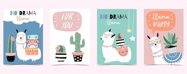 Niebieski różowy ręcznie rysowane słodkie karty z lamy Premium Wektorów