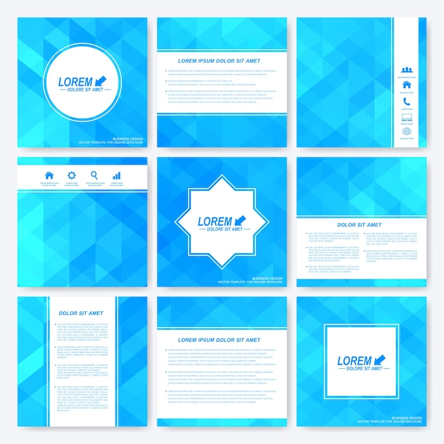 Niebieski Zestaw Broszury Kwadratowych Szablonów. Premium Wektorów