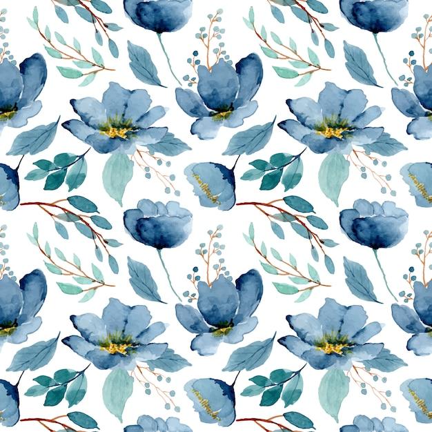 Niebieski Zielony Kwiatowy Akwarela Bezszwowe Wzór Premium Wektorów