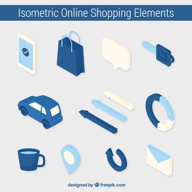 Niebieskie Elementy Izometryczne Opakowania Sklepu Internetowego Darmowych Wektorów