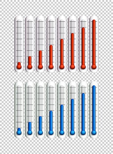Niebieskie I Czerwone Ciecze W Termometrach Darmowych Wektorów