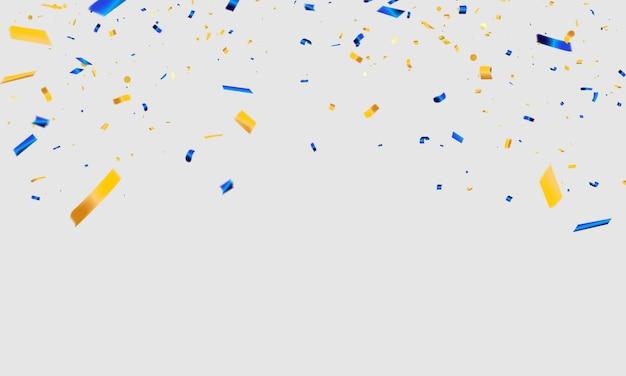 Niebieskie I żółte Konfetti Karnawałowe Uroczystości Premium Wektorów