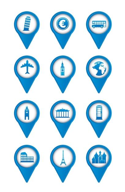 Niebieskie ikony europy na białym tle ilustracji wektorowych Premium Wektorów