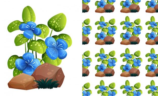 Niebieskie kwiaty na wzór tonów Darmowych Wektorów