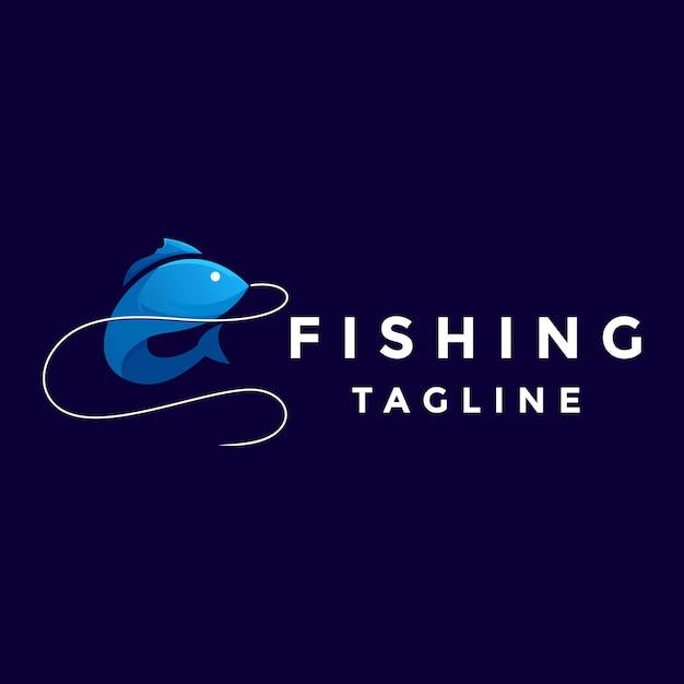 Niebieskie Logo Rybackie Kolorowe Premium Wektorów