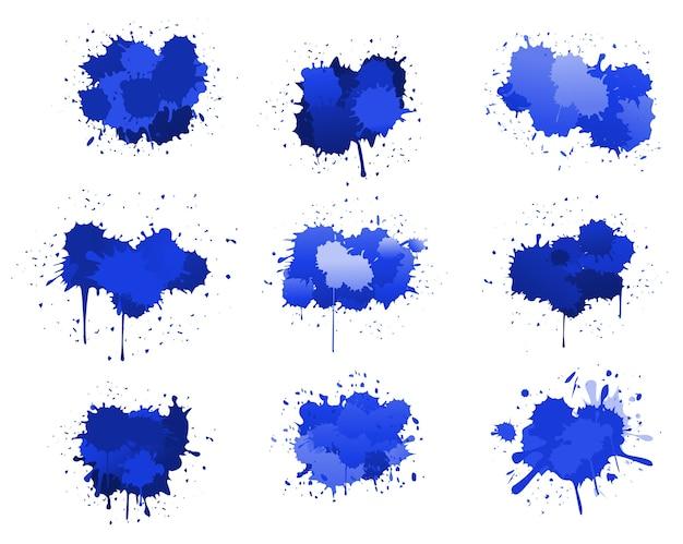 Niebieskie Plamy Atramentu Premium Wektorów