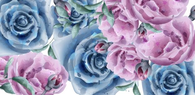 Niebieskie róże transparent akwarela Premium Wektorów