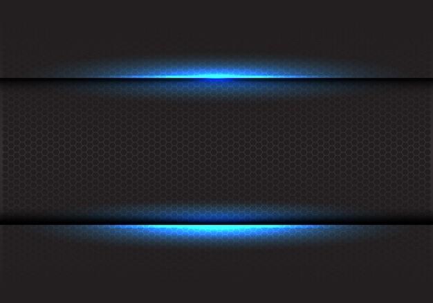 Niebieskie światło na ciemnym tle sześciokątnym siatki. Premium Wektorów