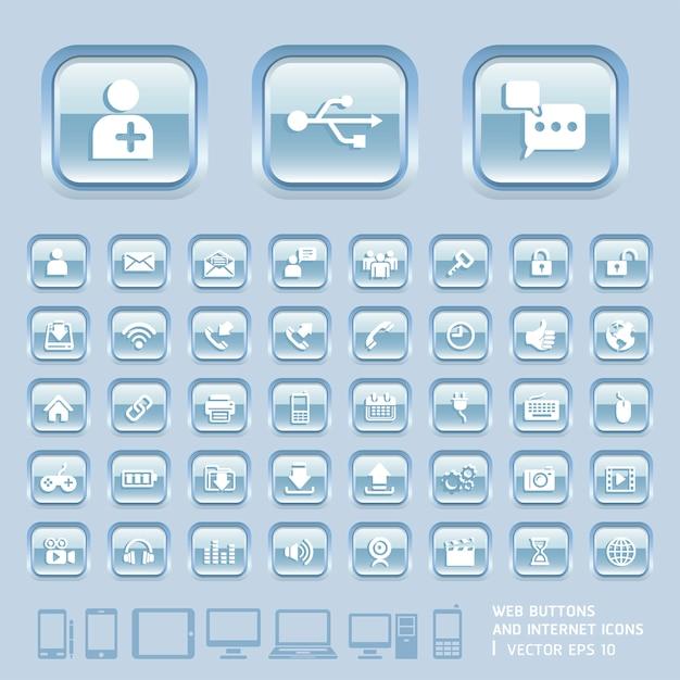 Niebieskie szklane przyciski i ikony internetowe dla stron internetowych, aplikacji i tabletów mobile Premium Wektorów
